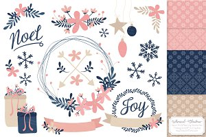 Navy & Pink Floral Christmas Wreath