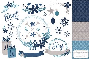 Navy Christmas Wreaths & Patterns