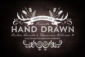 Hand Drawn Curls & Banners Vol. 3