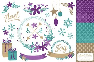 Teal & Purple Christmas Wreaths