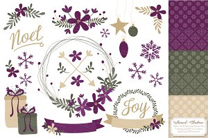 Plum Christmas Wreath Vectors
