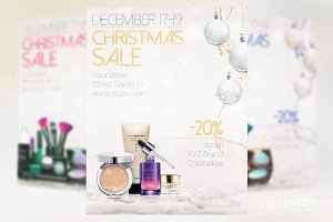 White Christmas Sale Flyer Template