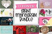 13 Font Pack - Monogram Font Bundle