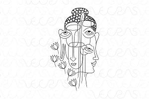 Buddha Faces Illustrative Vector Art