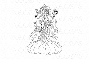 Hindu Goddess Lakshmi Vector Art