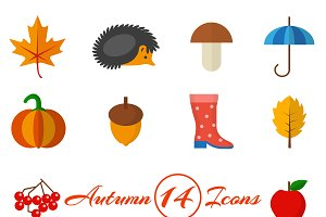 Autumn set of 14 icons