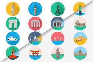 Travel landmarks icon set 2 in 1