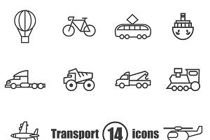 Transport set of 14 icons