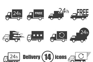 Transport delivery set of 14 icons