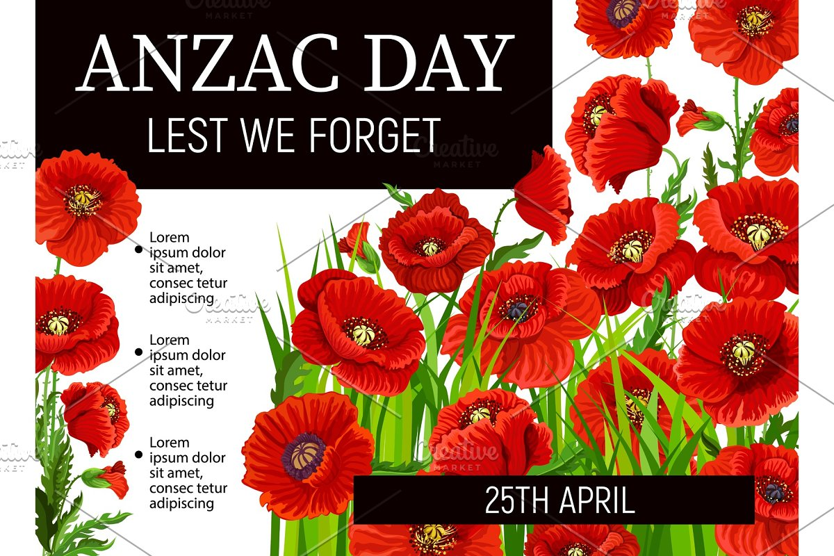 Anzac Remembrance Day Red Poppies Custom Designed Illustrations