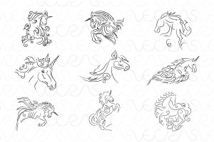 Unicorn Illustrative Vector Set