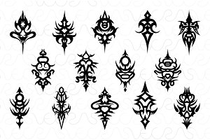 Tribal Symmetrical Black Vector Set