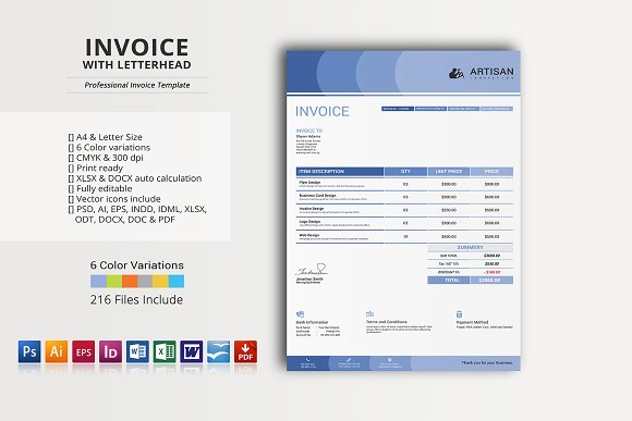 Invoice With Letterhead Stationery Templates Creative Market - Invoice xlsx
