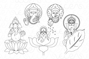 Goddess Lakshmi & God Ganesha Vector