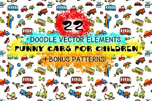 Doodle elements vector cars for baby