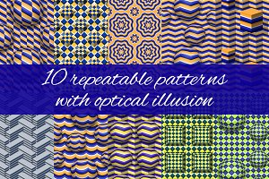 Optical illusion patterns set