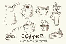 Vector set of coffee sketch