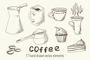 Vector set of coffee sketch