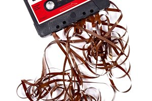 Old broken music cassette tape