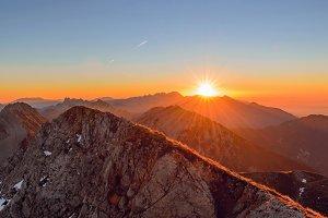 Amazing sunrise on the mountain