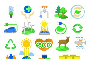 Ecology Conceptual Flat Icons