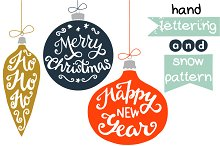Christmas baubles and lettering