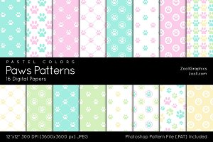 Paws Digital Papers Pastel