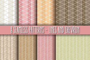 8 Seamless Patterns, Lines & Chevron