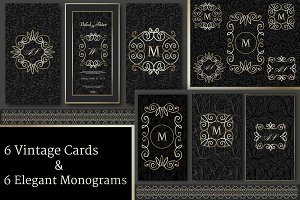 Set of 6 Vintage Cards & 6 Monograms