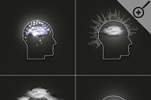 Set of 4 vector icons of human head