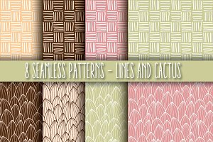 8 Seamless Patterns, Lines & Cactus