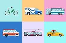 Urban city vehicles icon set