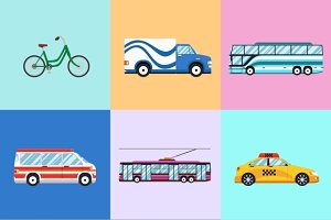 Urban city vehicles icon set