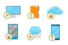 Data protection flat icon set