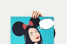 Pop art illustration with girl.
