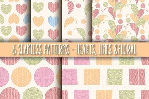 6 Seamless Patterns, Hearts & Lines