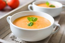 Tomato gazpacho soup. Spanish food