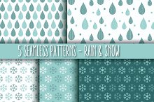 5 Seamless Patterns - Rain & Snow