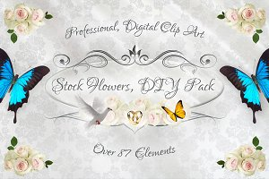 Stock Flowers DIY Pack, 87 Elements