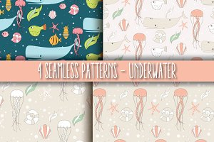 4 Seamless Patterns - Underwater
