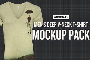 Men's Deep V-Neck T-Shirt Mockups