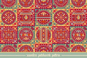 Seamless patchwork pattern. Tile.