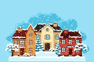 Winter cards with houses and trees.
