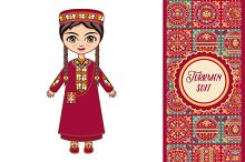 The girl in Turkmen dress. Historica