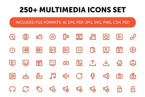 250+ Multimedia Icons Set