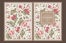 Set. Flowers. Card, frame, Peonies.