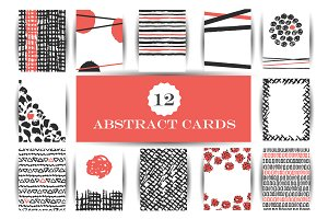 Hand drawn abstract cards