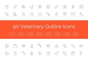 90 Veterinary Outline Icons