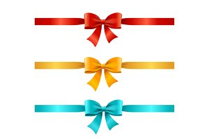 Bow and Ribbon Set. Vector
