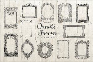 12 Ornate Decorative Frame Set PNG